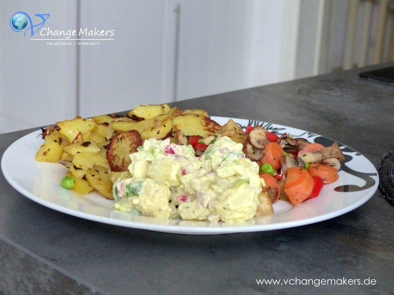 Rezeptidee: Bratkartoffeln, Gemüse und Kartoffelsalat – vegan