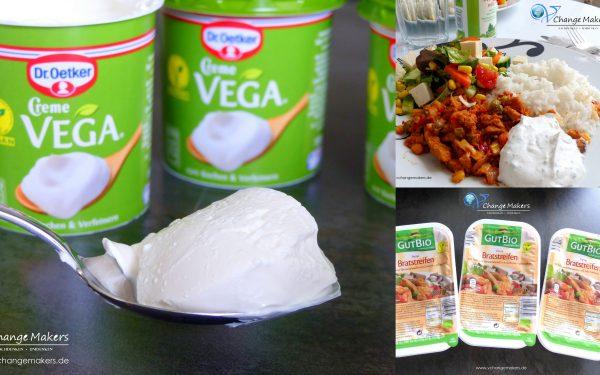 Rezeptinspiration: Reis, Bratstreifen und Salat mit Creme Vega von Dr. Oetker – Schmand vegan
