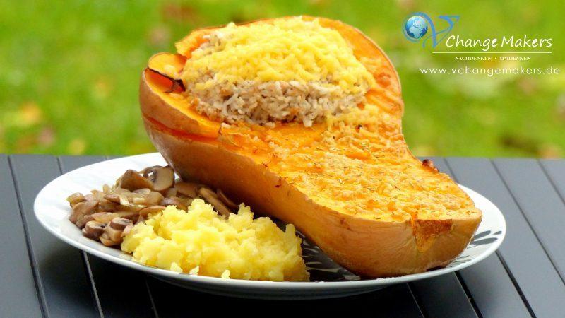 Rezept: Butternut Kürbis mit der leckersten Füllung!
