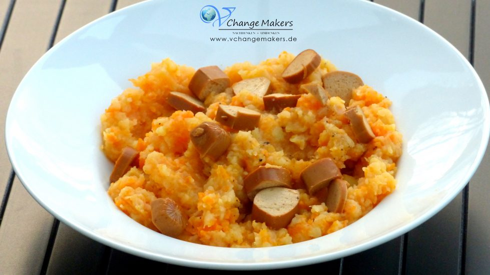 Leckeres und günstiges Herbstgericht. Rübenmus mit Würstchen - vegan. Ruckizucki zubereitet