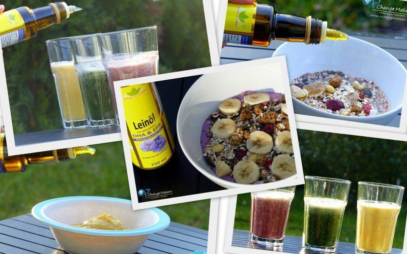 4 gesunde Rezept Ideen mit Leinöl mit DHA & EPA. Ich zeige dir, wie einfach du deine Rezepte mit Leinöl aufpeppen kannst. Eine gesunde Ergänzung in deiner Ernährung um dich geistig und körperlich fit zu halten. Gute Omega 3 Fettsäuren sind lebensnotwendig!