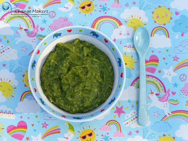 Gesunder veganer Babybrei zu Mittag! Grüne Power versorgt euer Baby mit Eisen und die Linsen mit viel Eiweiß! Dazu sättigende Kartoffeln.