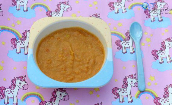 Rezept für einen nährstoffreichen veganen Babybrei. Eine tolle Kombination, die für euer Baby sehr gesund und sättigend ist. Eignet sich zum Meal Prep!