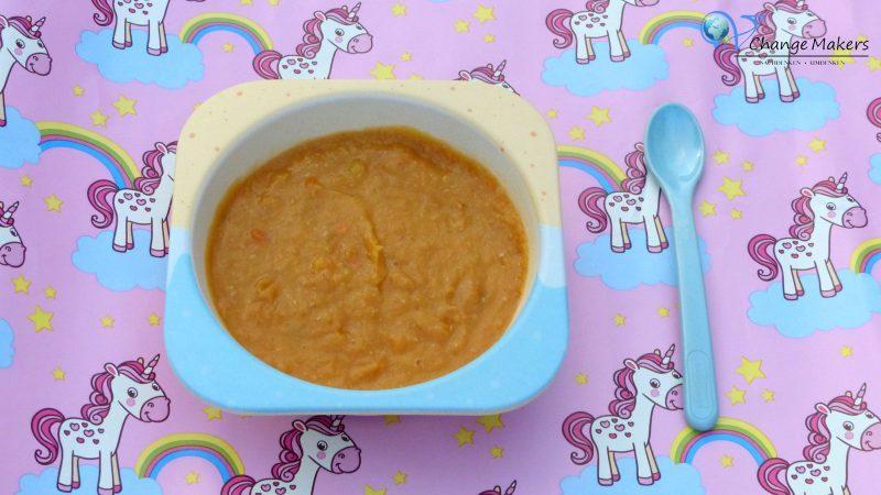 Rezept Babybrei: Süßkartoffel Zucchini Linsen – vegan – Mittagsbrei