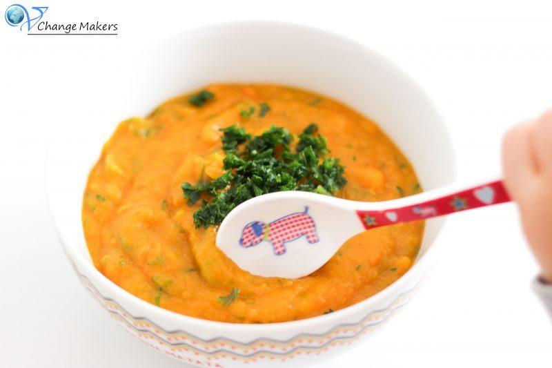 Vegane Kinderküche: Kürbis Möhren Kartoffelsuppe