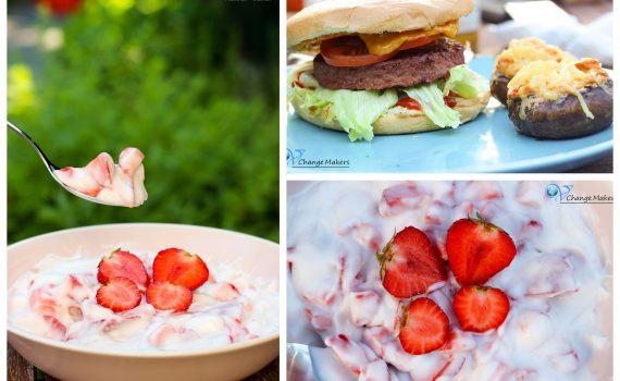 Leckerschmecker Inspirationen für den Grill, natürlich vegan. 2 Rezepte + vegane Burger Patty Empfehlung. Gefüllte Champignons, Dessert, Beyond Meat und Garden Gourmet