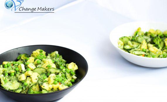 Ein einfaches Ruckizucki Rezept für grünen Power Kartoffelsalat. Ohne Schnickschnack, kalorienarm, klimafreundlich und richtig gesund! Natürlich vegan!