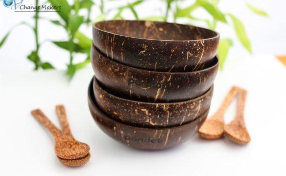 Wunderschönes Upcycling Kokosnussschalen Set + Löffel. Nachhaltig, plastikfrei, Unikate! Kokosnussschalen wird ein zweites Leben geschenkt + Gutscheincode