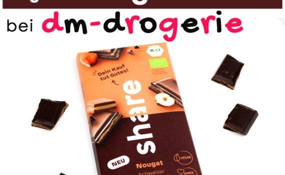 Seit kurzem gibt es ultraleckere vegane Nougatschokolade bei dm! Mit dem Kauf von share Produkten unterstützt du weltwelt soziale Projekte