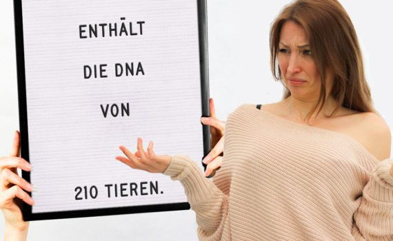 Du isst mit einer 500gr Packung Hackfleisch die DNA von insgesamt 210 Tieren. Also pro 100gr Hack isst du Stücke von 42 Tieren. Schock!