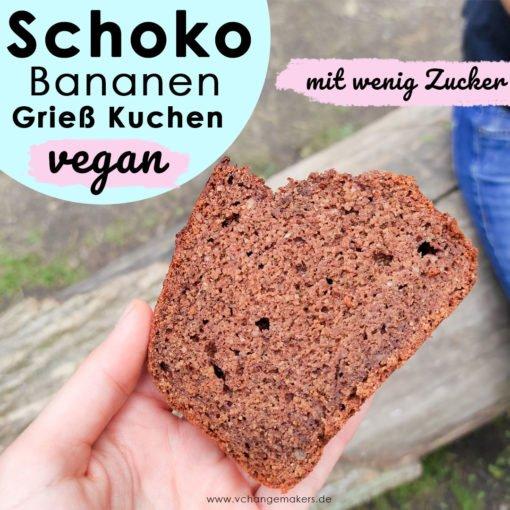 Ruck Zucki Rezept für einen veganen Schoko Bananen Grießkuchen mit wenig Zucker. Ideal für Kinder! Saftig und fluffig. Leckerschmecker Kuchen!